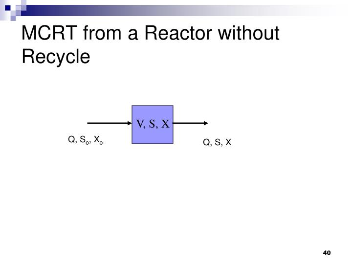MCRT from a Reactor without Recycle