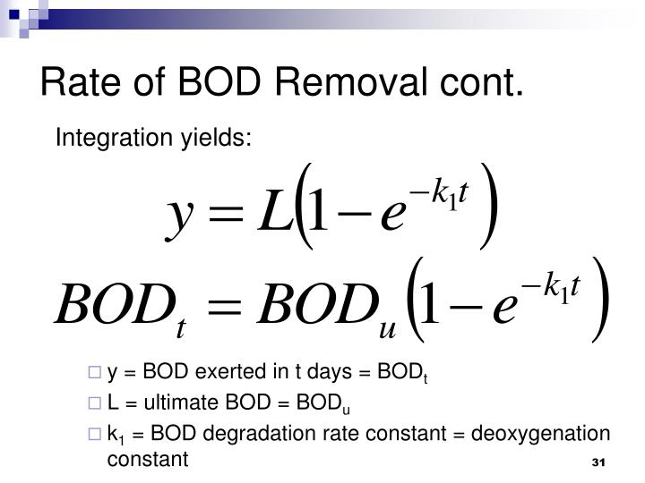 Rate of BOD Removal cont.