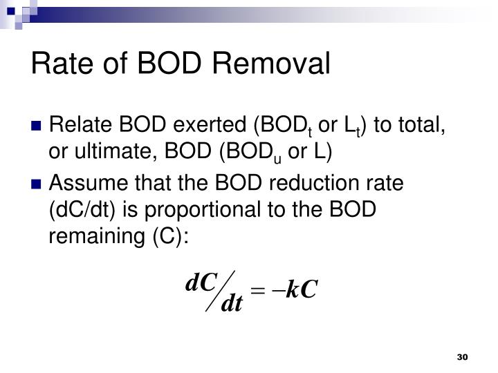 Rate of BOD Removal