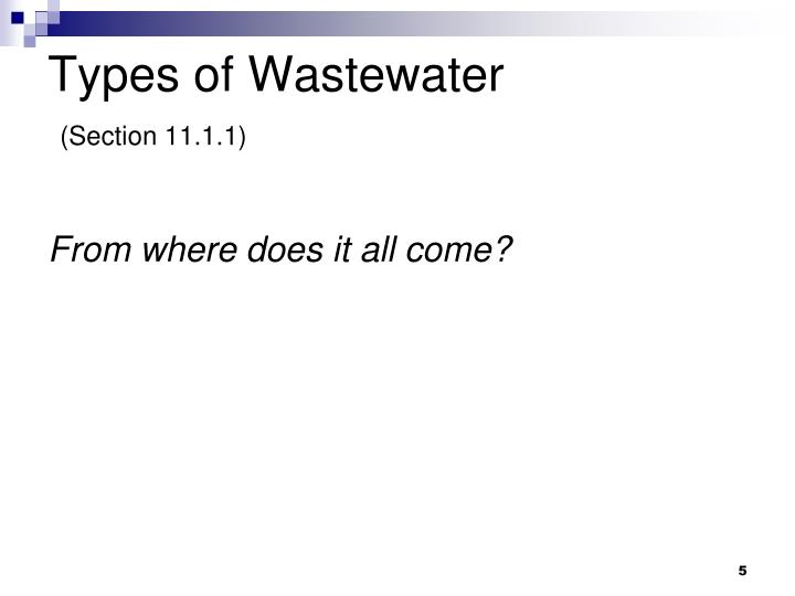 Types of Wastewater