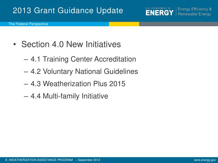 2013 Grant Guidance Update