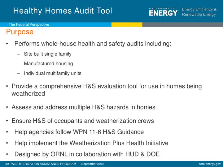 Healthy Homes Audit Tool