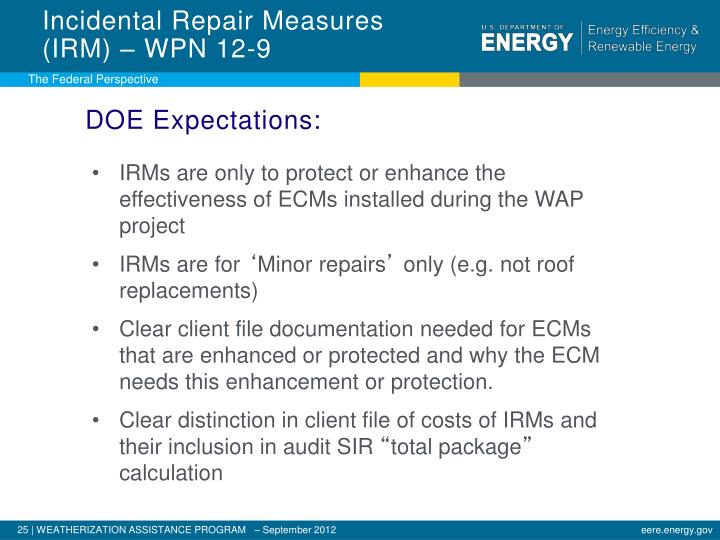 Incidental Repair Measures (IRM) – WPN 12-9