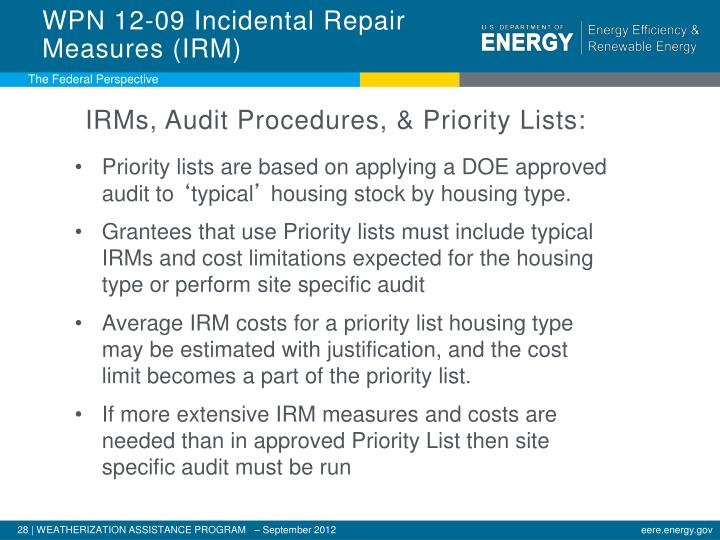 WPN 12-09 Incidental Repair Measures (IRM)
