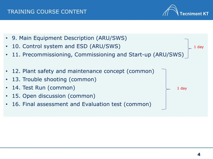 TRAINING COURSE CONTENT