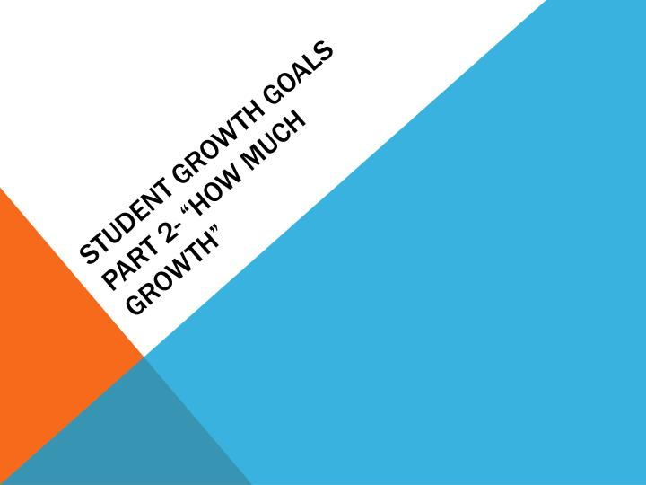 Student growth goals part 2 how much growth