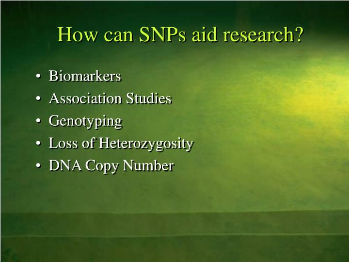 How can snps aid research