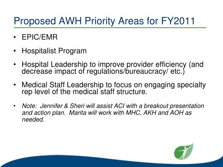 Proposed AWH Priority Areas for FY2011