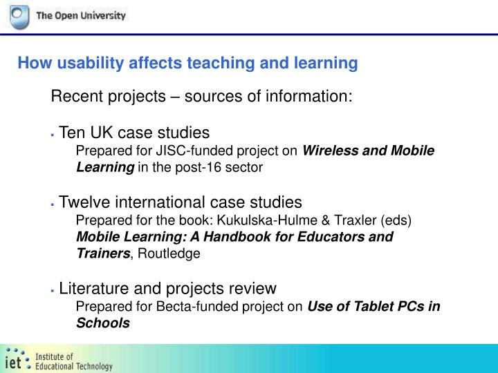 How usability affects teaching and learning