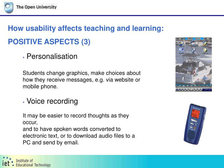 How usability affects teaching and learning: