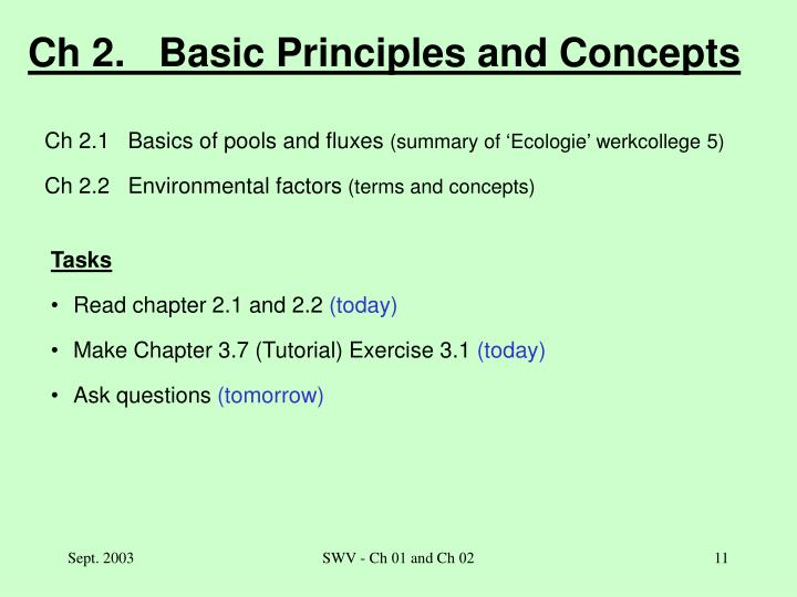 Ch 2.   Basic Principles and Concepts