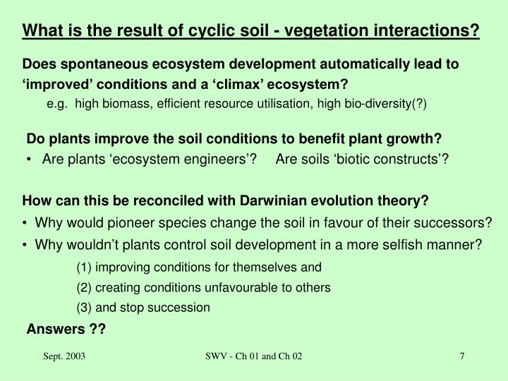 What is the result of cyclic soil - vegetation interactions?