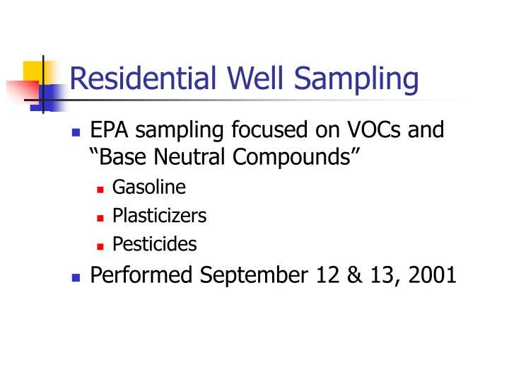 Residential Well Sampling