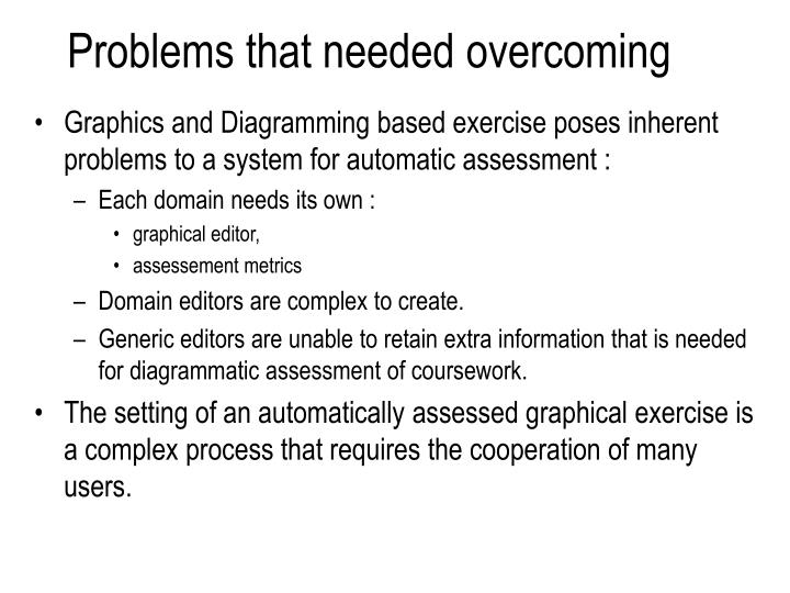 Problems that needed overcoming