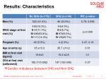 results characteristics