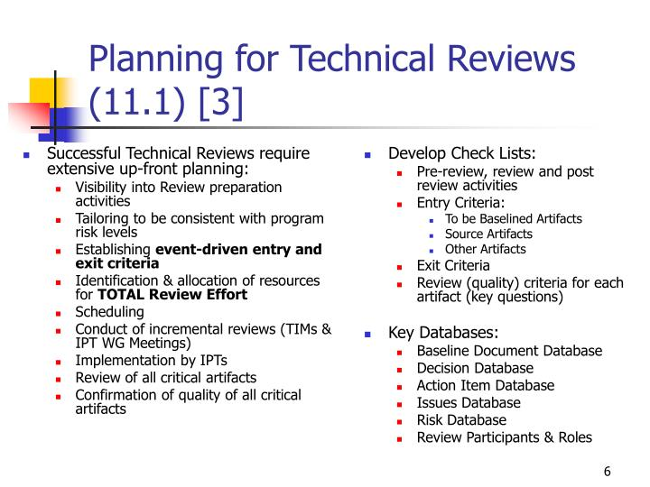Successful Technical Reviews require extensive up-front planning: