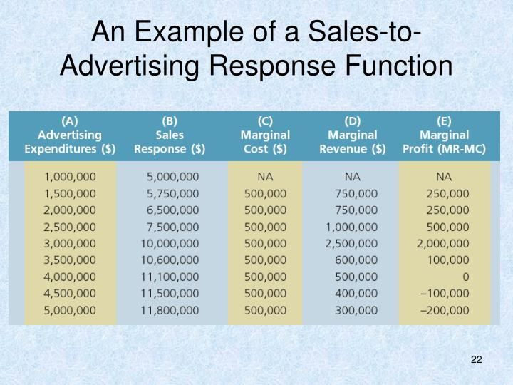 An Example of a Sales-to-Advertising Response Function