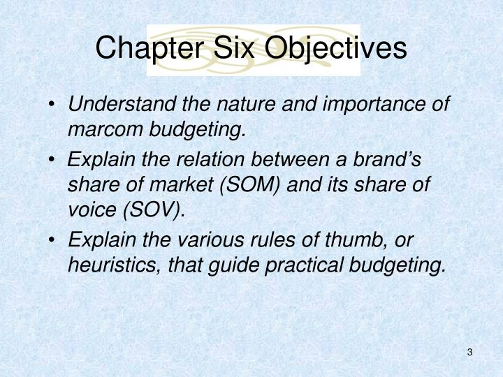Chapter six objectives1