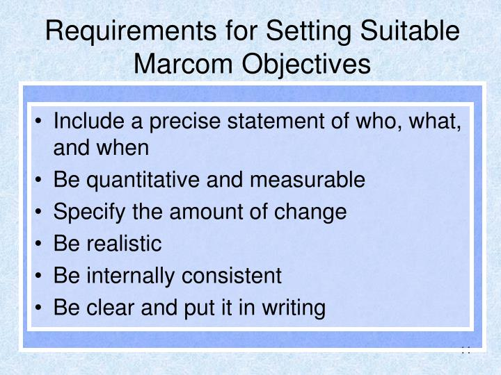 Requirements for Setting Suitable Marcom Objectives