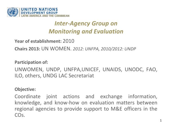 inter agency group on monitoring and evaluation n.