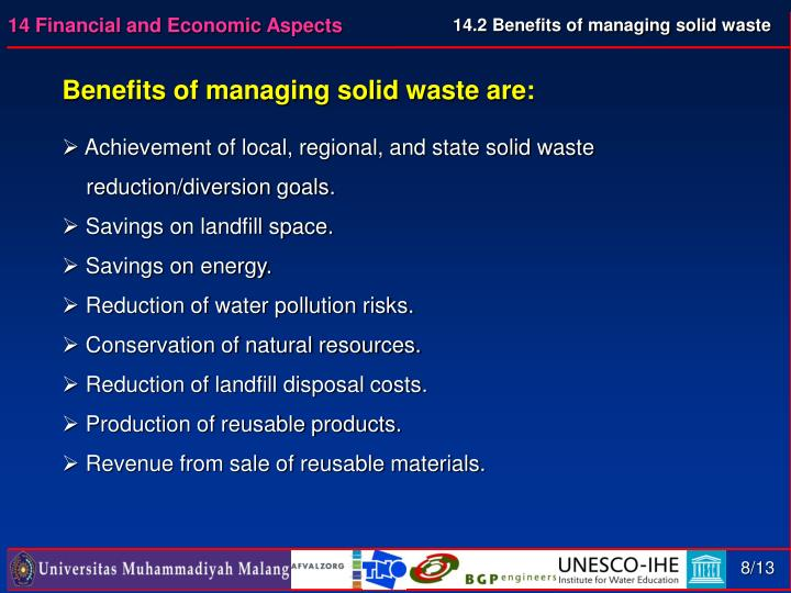 14.2 Benefits of managing solid waste