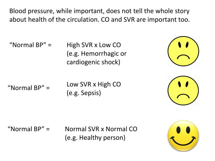 Blood pressure, while important, does not tell the whole story about health of the circulation. CO a...