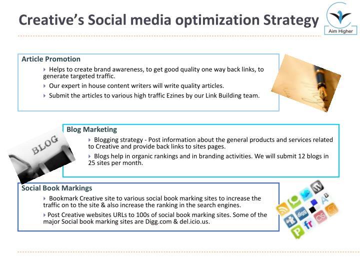 Creative's Social media optimization Strategy