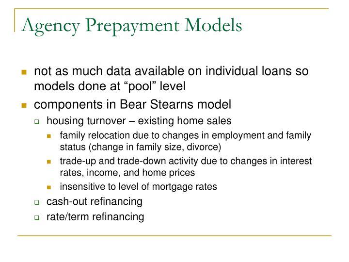 Agency Prepayment Models