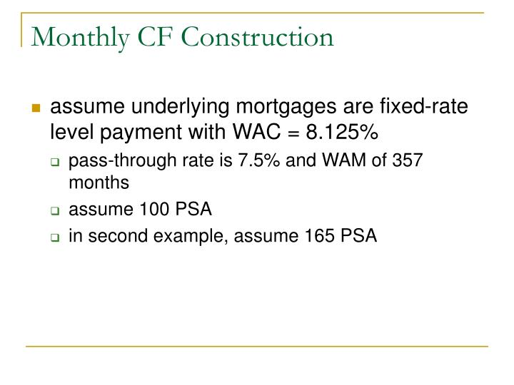Monthly CF Construction