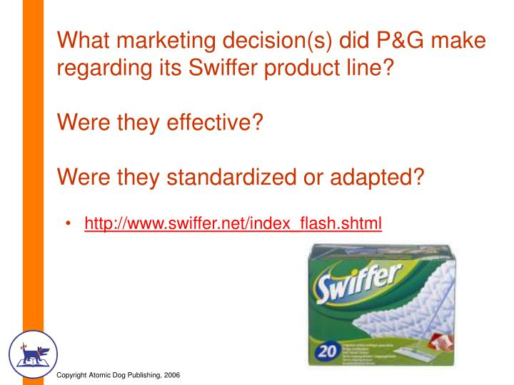 What marketing decision(s) did P&G make regarding its Swiffer product line?