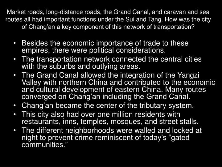 Market roads, long-distance roads, the Grand Canal, and caravan and sea routes all had important functions under the Sui and Tang. How was the city of Chang'an a key component of this network of transportation?