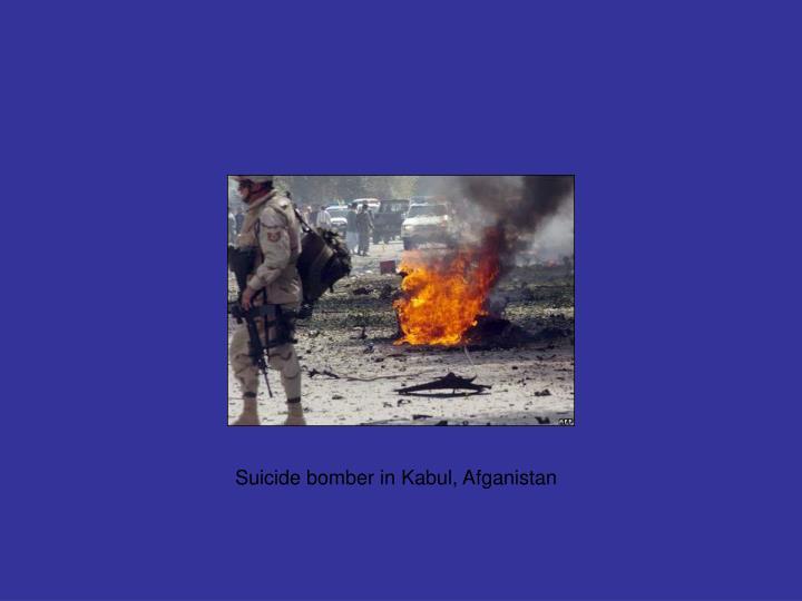 Suicide bomber in Kabul, Afganistan