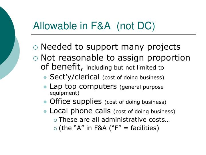 Allowable in F&A  (not DC)