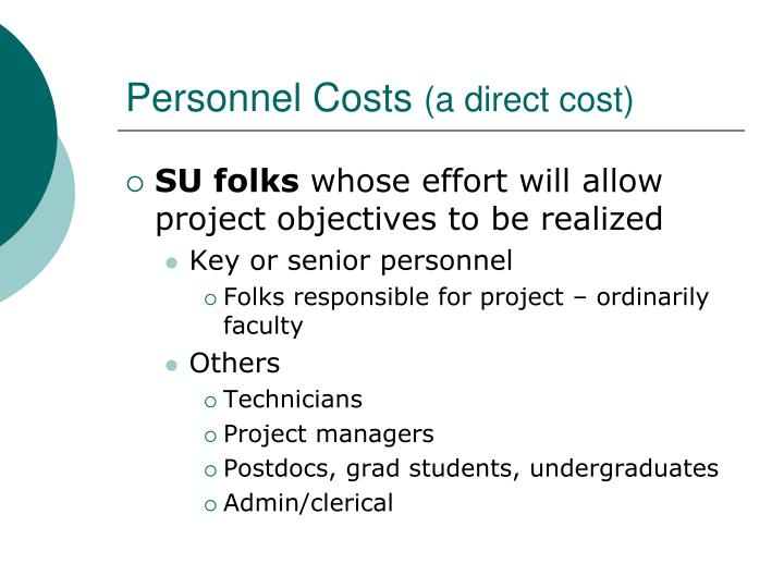 Personnel costs a direct cost