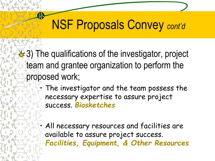 NSF Proposals Convey