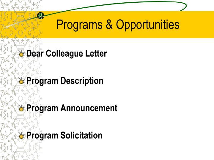 Programs & Opportunities