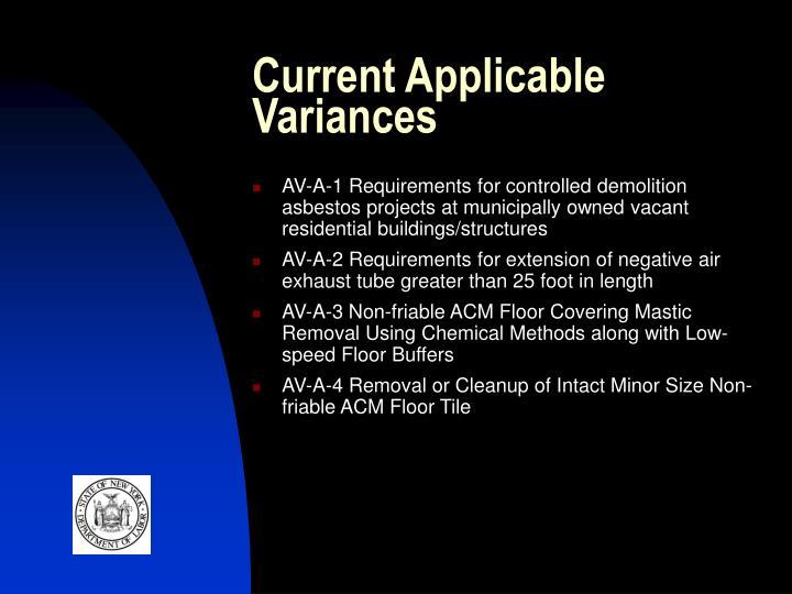 Current Applicable Variances