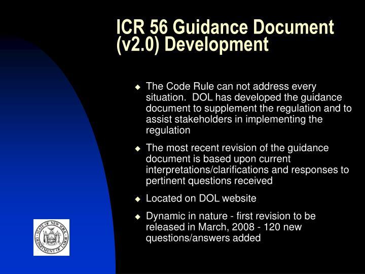ICR 56 Guidance Document (v2.0) Development