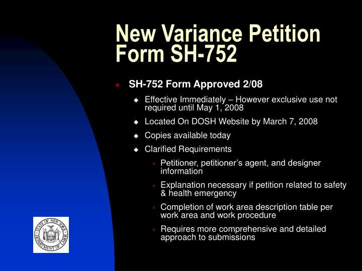 New Variance Petition Form SH-752