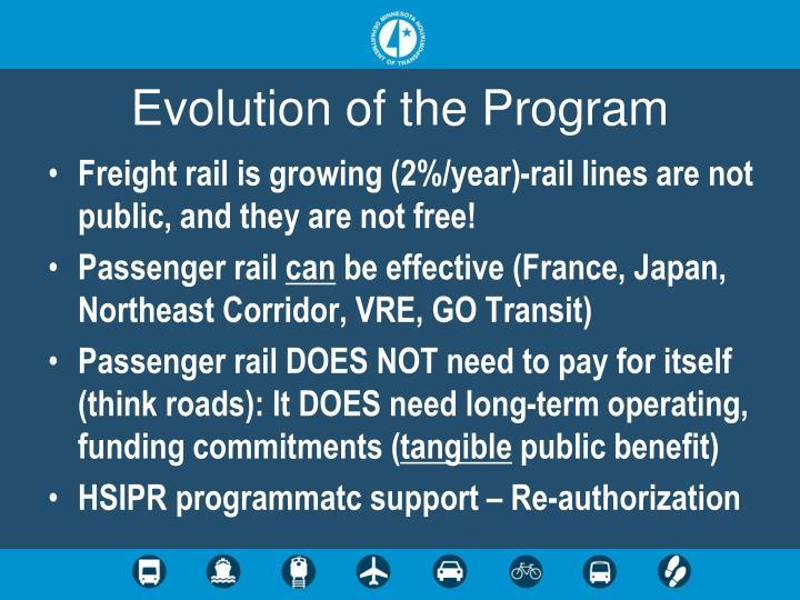 Evolution of the Program