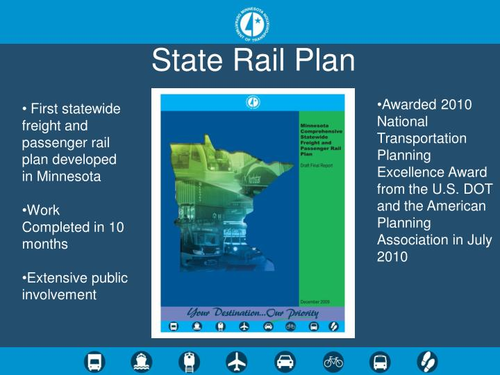 First statewide comprehensive rail plan for mn commissioned by 2008 legislature