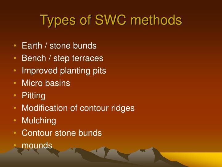 Types of SWC methods