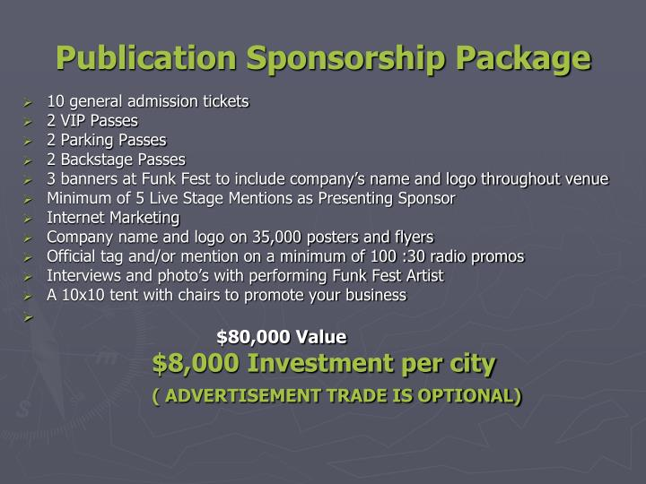 Publication Sponsorship Package