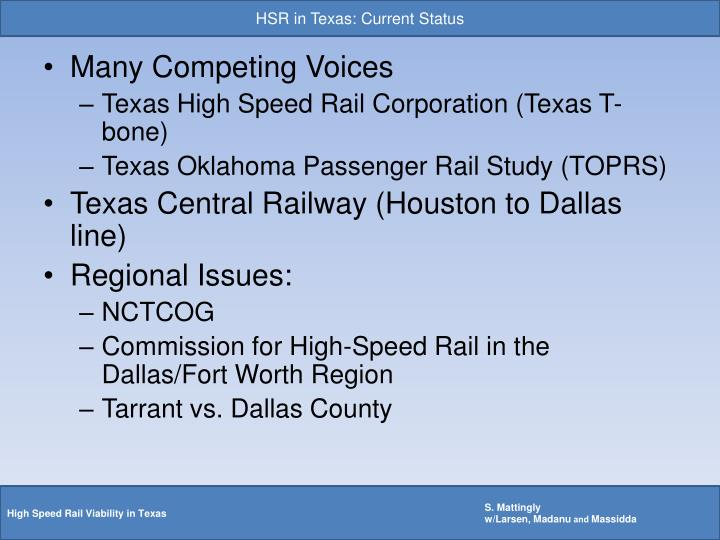 HSR in Texas: Current Status
