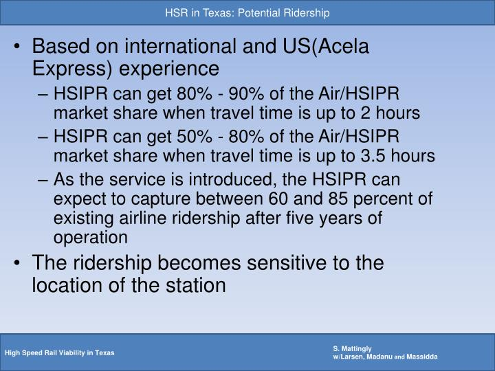 HSR in Texas: Potential Ridership