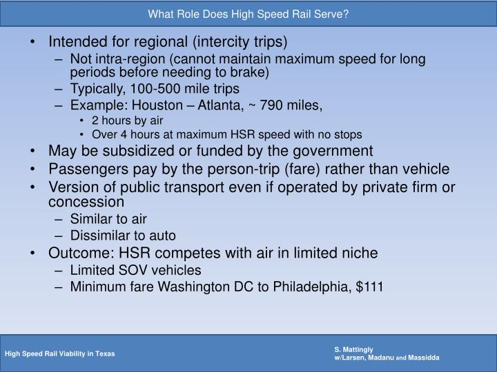 What Role Does High Speed Rail Serve?