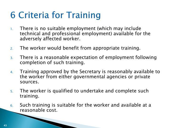 6 Criteria for Training