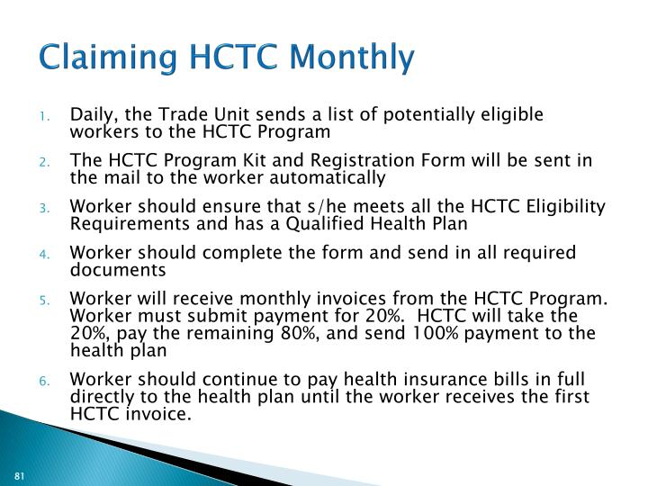 Claiming HCTC Monthly