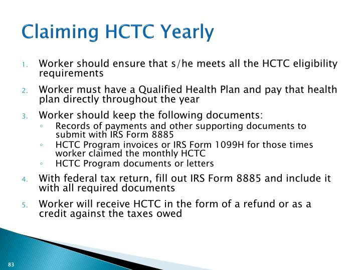 Claiming HCTC Yearly