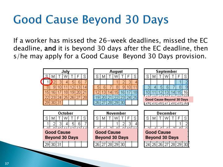 Good Cause Beyond 30 Days